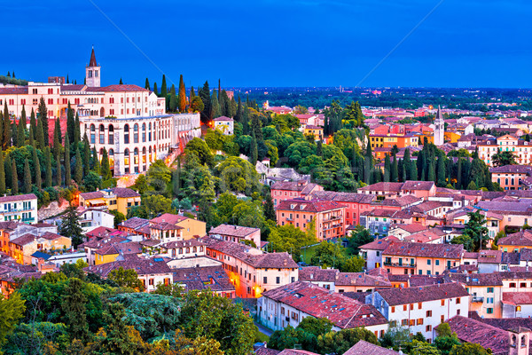 Verona rooftops and Opera Don Calabria evening view Stock photo © xbrchx