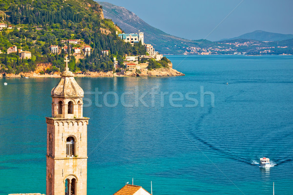 Dubrovnik church tower and coastline view Stock photo © xbrchx