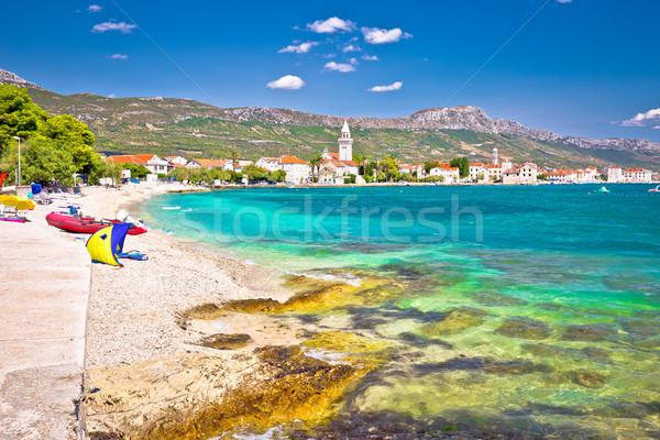 Kastel Stafilic landmarks and turquoise beach view Stock photo © xbrchx