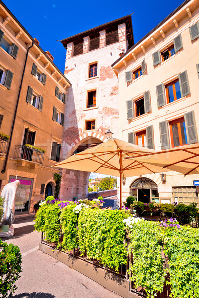 Italian street and cafe in Verona view Stock photo © xbrchx