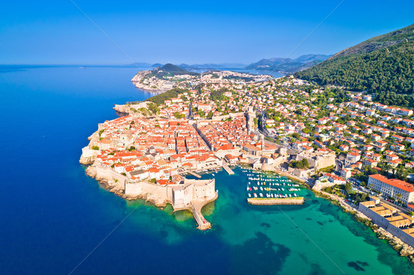 Town of Dubrovnik UNESCO world heritage site aerial view Stock photo © xbrchx
