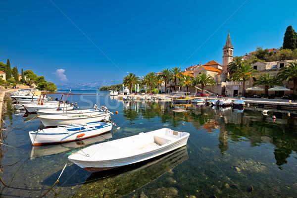 Splitska village on Brac island waterfront view Stock photo © xbrchx