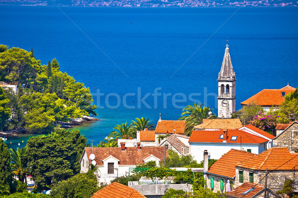 Village of Splitska architecture and seafront Stock photo © xbrchx