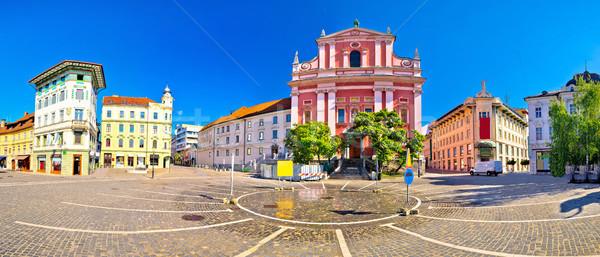 Presern square in Ljubljana panoramic view Stock photo © xbrchx