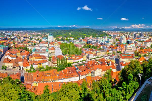 Colorful Ljubljana aerial panoramic view Stock photo © xbrchx