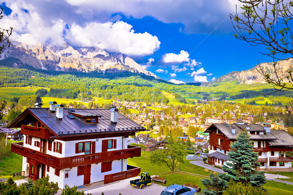Alpine town of Cortina d' Ampezzo in Dolomites Alps view Stock photo © xbrchx