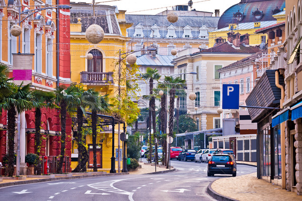 Colorful mediterranean street architecture of Opatija Stock photo © xbrchx