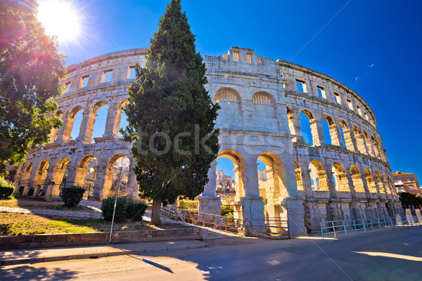 Arena Pula Roman amphiteater at sunset view Stock photo © xbrchx