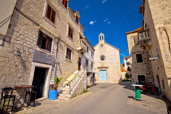 Kastel Stari stone street and chapel view Stock photo © xbrchx