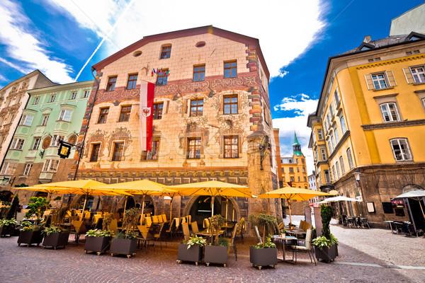 Historyczny ulicy widoku alpejski miasta region Zdjęcia stock © xbrchx