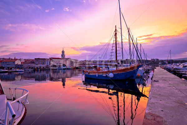Historic island town of Krk dawn waterfront view Stock photo © xbrchx