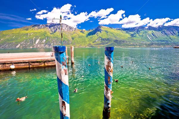 Green lake Garda and alpine mountains view Stock photo © xbrchx