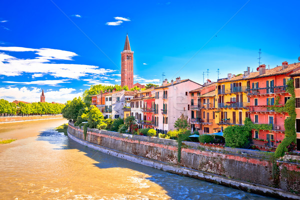 City of Verona Adige riverfront view Stock photo © xbrchx