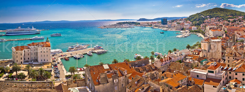 Split historic waterfront panoramic aerial view Stock photo © xbrchx