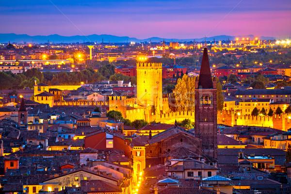 Stockfoto: Verona · daken · avond · toeristische