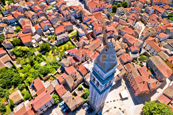 Town of Vodnjan tower and rooftops aerial view Stock photo © xbrchx