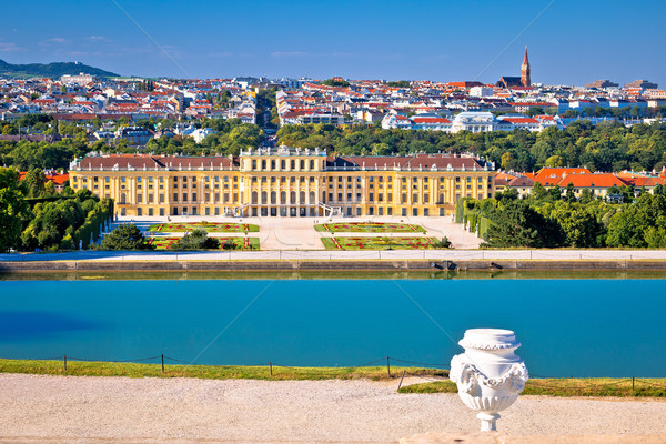 Vienna cityscape from Gloriette viewpoint above Schlossberg cast Stock photo © xbrchx