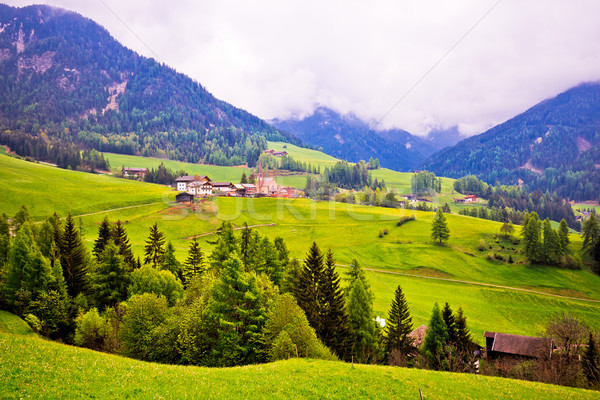Saint Magdalena in Val Funes landscape view Stock photo © xbrchx