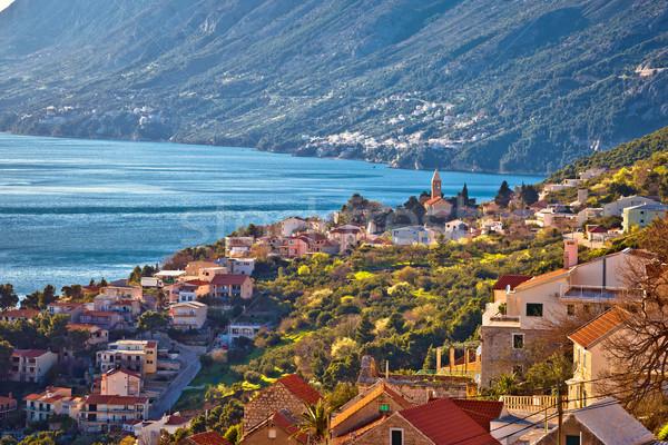 Idilli tengerparti falu kilátás régió Horvátország Stock fotó © xbrchx