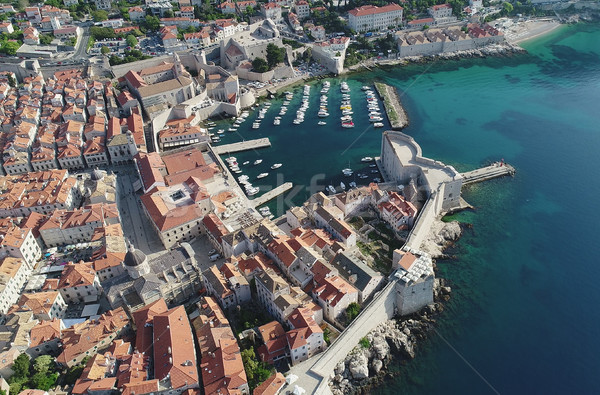 Town of Dubrovnik city walls and harbor UNESCO world heritage si Stock photo © xbrchx