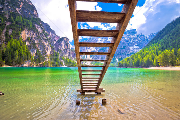 Lago di Braies turquoise water and Dolomites Alps view Stock photo © xbrchx