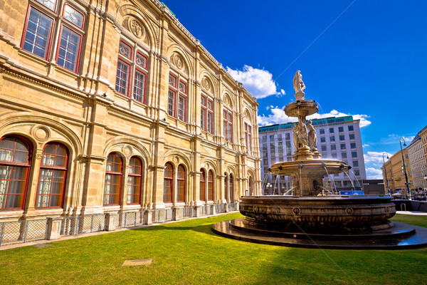 Vienna state Opera house fountain and architecture view Stock photo © xbrchx