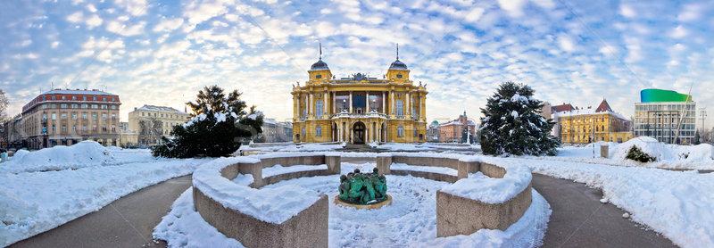 Marshal Tito square in Zagreb panorama Stock photo © xbrchx