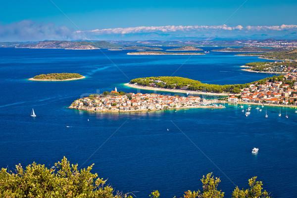 Adriatic tourist destination of Primosten aerial panoramic archi Stock photo © xbrchx