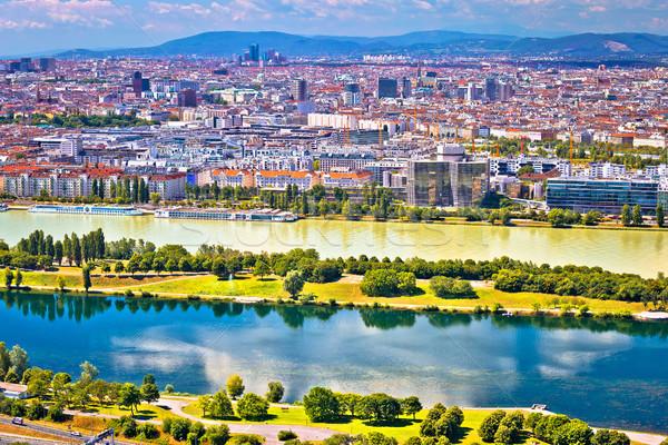 Rzeki Wiedeń Cityscape widoku budynku niebieski Zdjęcia stock © xbrchx