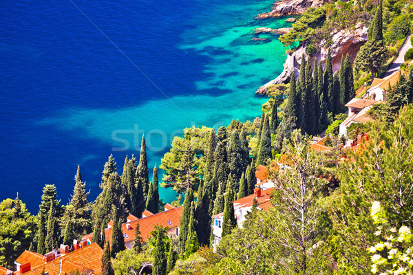 Dubrovnik colorful coastline aerial view Stock photo © xbrchx