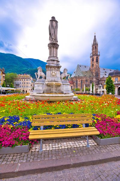 Bolzano main square and cathedral view Stock photo © xbrchx