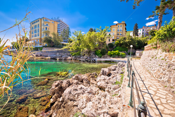 Rocky beach and Lungomare walkway in Opatija Stock photo © xbrchx