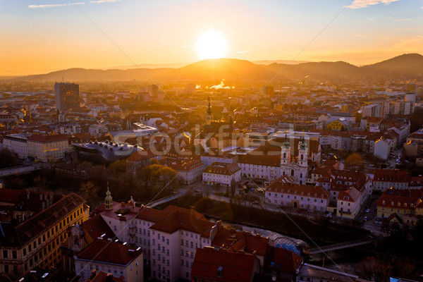 Graz city center aerial sunset view Stock photo © xbrchx