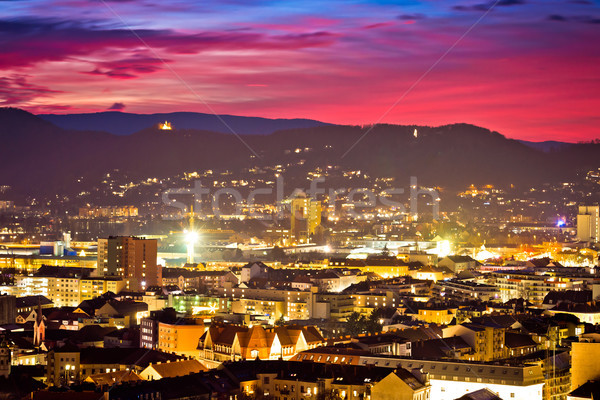 Graz city center aerial view at burning sky dusk Stock photo © xbrchx