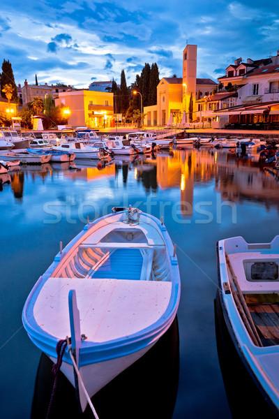 Vízpart kikötő hajnal kilátás sziget Horvátország Stock fotó © xbrchx
