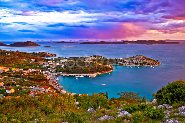 Kornati islands national park archipelago at dramatic sundown vi Stock photo © xbrchx