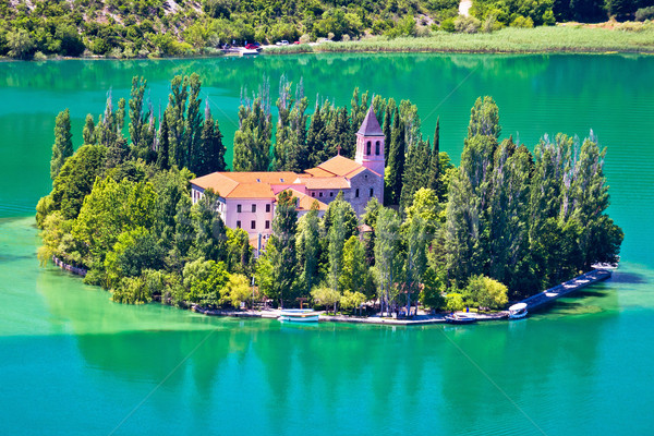 Island of Visovac monastery in Krka  Stock photo © xbrchx