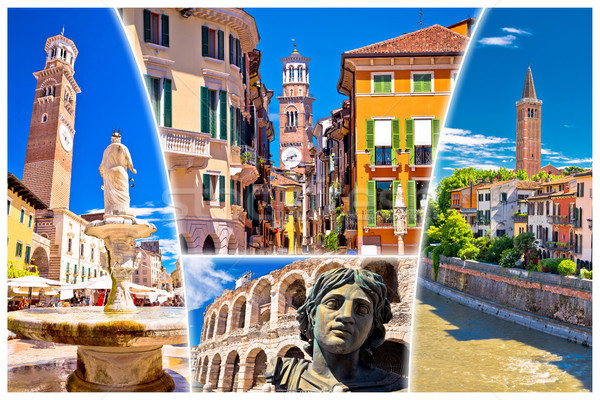 Verona colorful tourist landmarks postcard  Stock photo © xbrchx