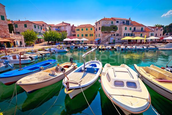 Town of Postira seafront view Stock photo © xbrchx