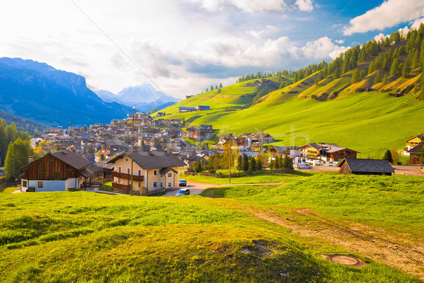 Picturesque alpine village of San Cassiano view Stock photo © xbrchx