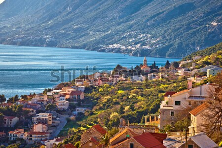 Town of Malcesine on Lago di Garda historic skyline view Stock photo © xbrchx