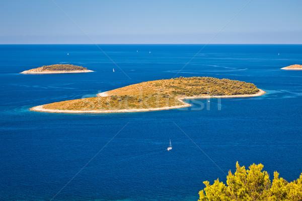 Szigetek kék tenger légifelvétel szigetvilág nyár Stock fotó © xbrchx