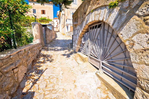 Town of Omisalj old mediterranean street view Stock photo © xbrchx