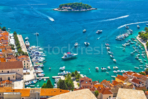 Hvar bay and yachting harbor aerial view Stock photo © xbrchx