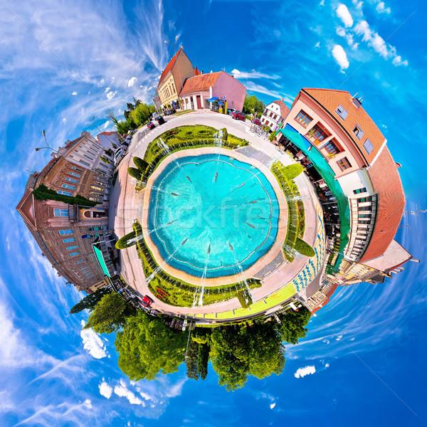 Ville fontaine carré planète perspectives panorama Photo stock © xbrchx