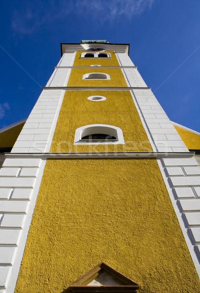 Glocke Turm niedrig Perspektive gelb weiß Stock foto © Ximinez