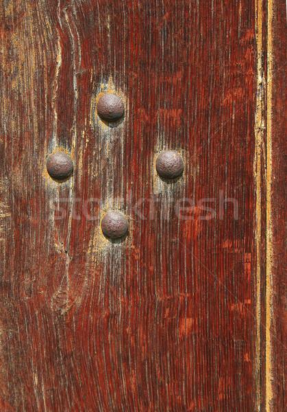 Oude deur Rood hout roest nagel Stockfoto © Ximinez