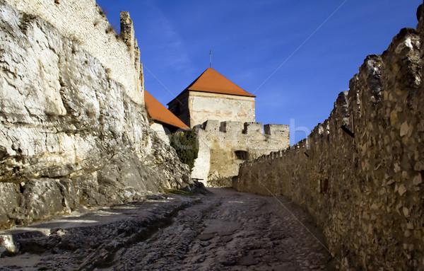 Old castle walls and battlements Stock photo © Ximinez