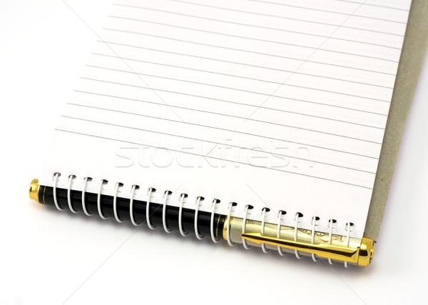 Stift Merkzettel isoliert schwarz golden Papier Stock foto © Ximinez