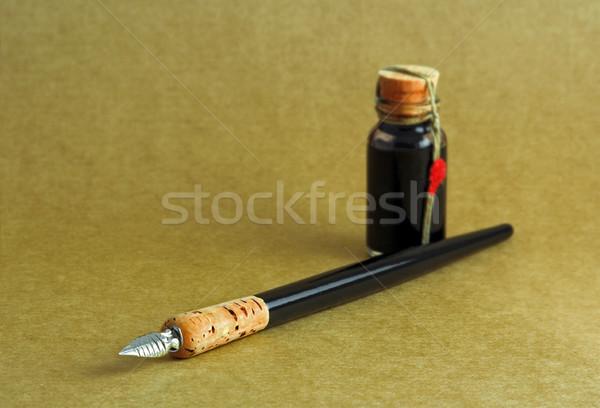 Tinte antiken Stil Stift schriftlich schwarz Stock foto © Ximinez